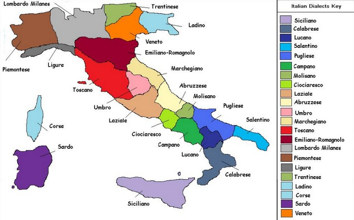 Map Of Italy In Italian.Map Of The Italian Languages And Dialects This Is Italy