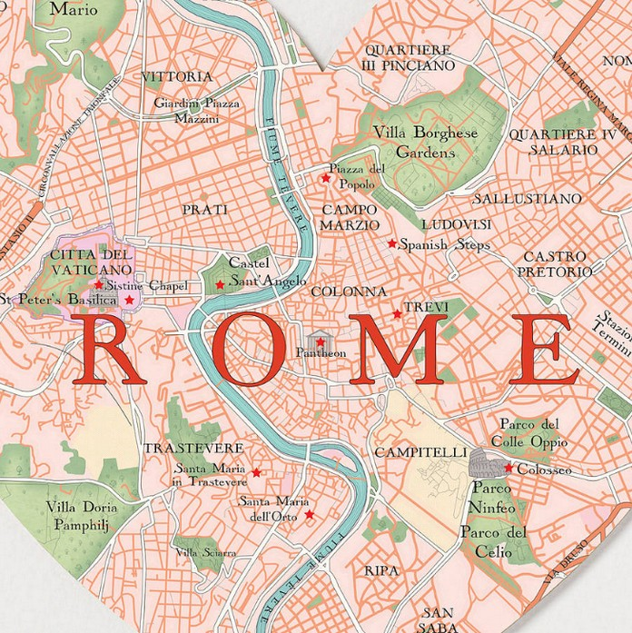 map of rome with the best places sights this is italy. Black Bedroom Furniture Sets. Home Design Ideas